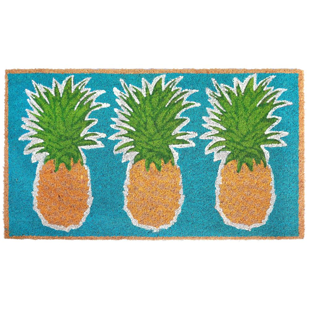 "Liora Manne 2035/04  Natura Pineapples Indoor/Outdoor Mat Blue 18""X30"""
