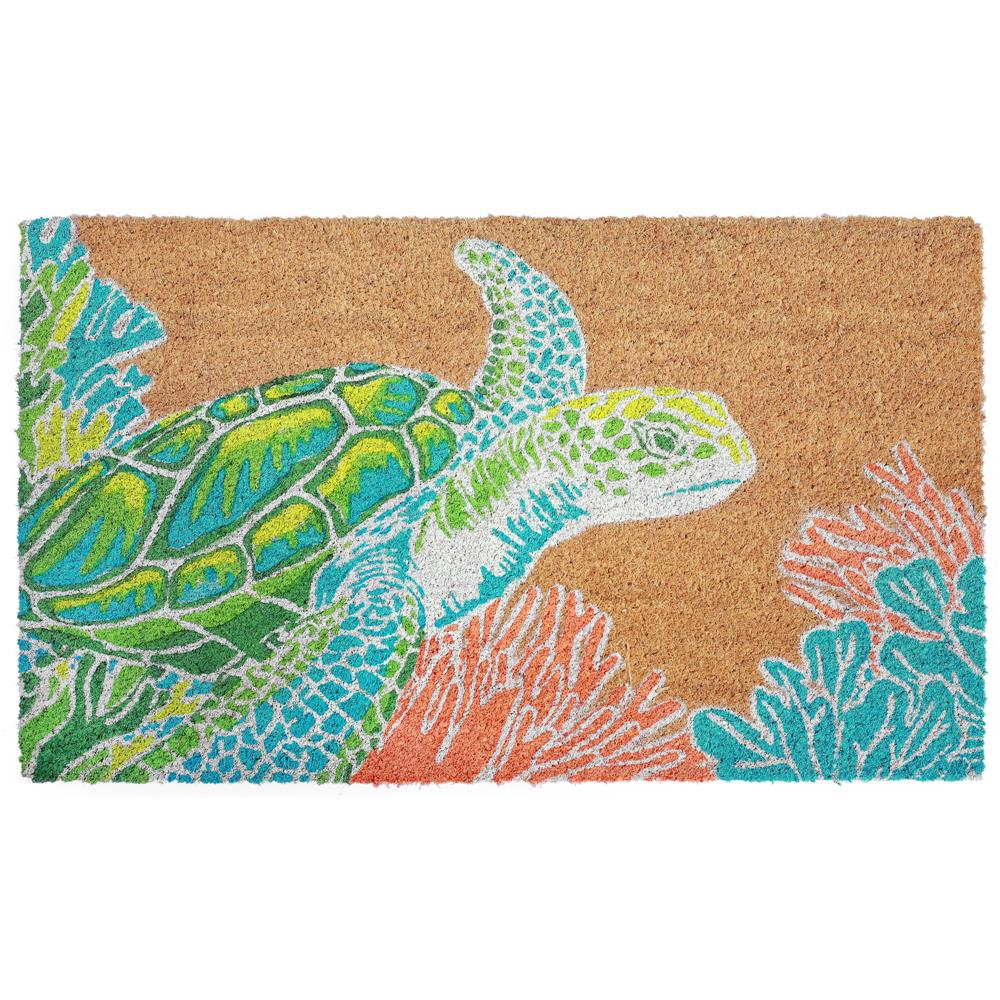 "Liora Manne 2038/12  Natura Seaturtle Indoor/Outdoor Mat Natural 18""X30"""