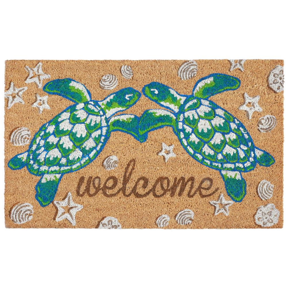 "Liora Manne NTR12205912  Natura Seaturtle Welcome Indoor/Outdoor Mat Natural 18""X30"""