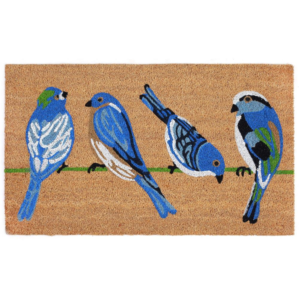 "Liora Manne NTR12206112  Natura Blue Birds Indoor/Outdoor Mat Natural 18""X30"""