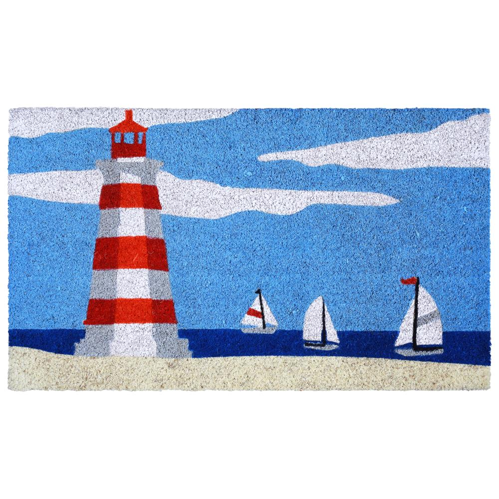 "Liora Manne NTR12208303  Natura Lighthouse Indoor/Outdoor Mat Blue 18""X30"""