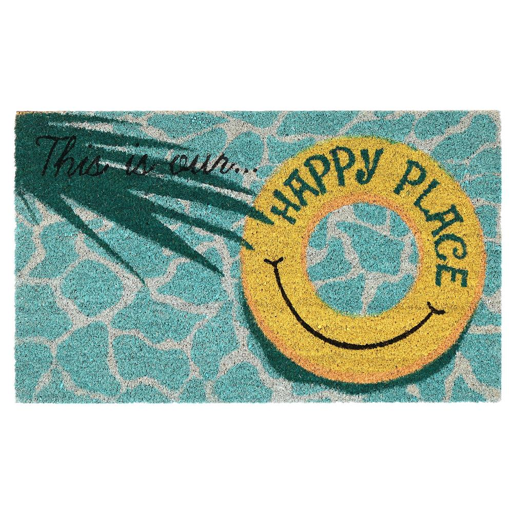 "Liora Manne 2208/04 Natura This Is Our Happy Place Outdoor Mat Aqua 24""X36"""