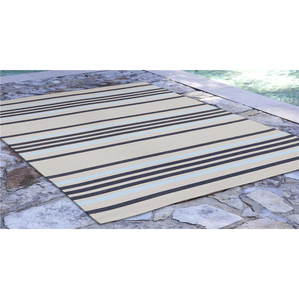 "Liora Manne 7858/33  Plaza Stripe Indoor/Outdoor Rug Navy 42""X66"""