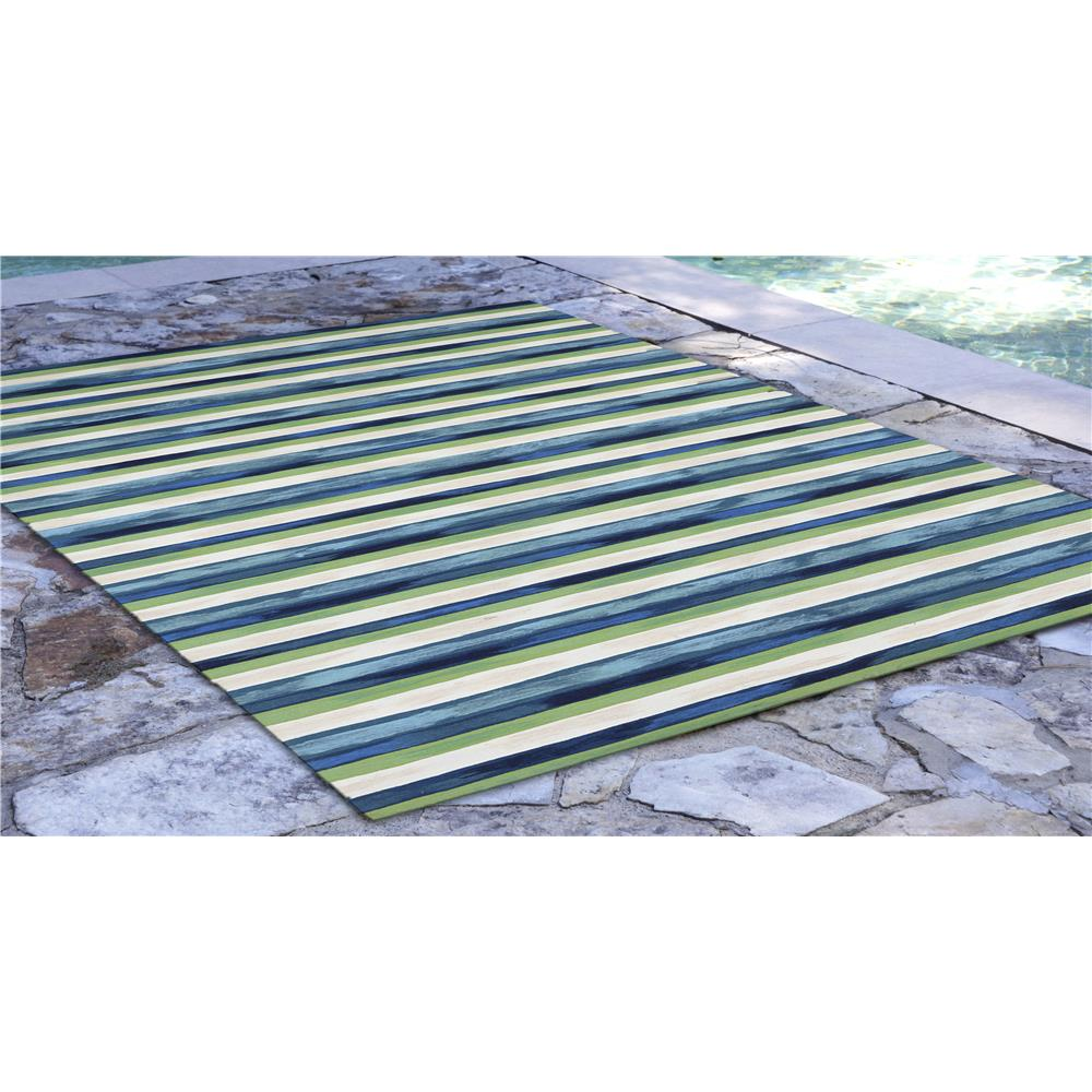 "Liora Manne 4313/03  Visions II Painted Stripes Indoor/Outdoor Rug Blue 24""X36"""