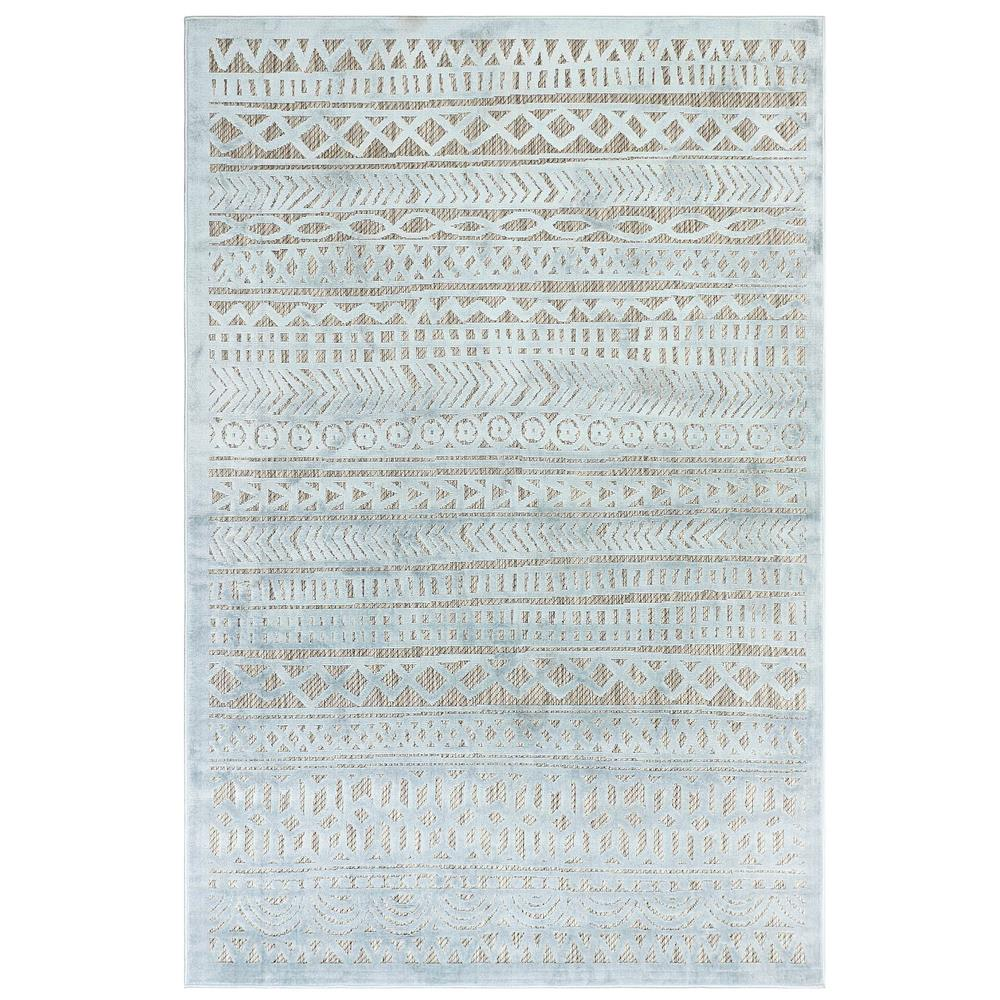 "Liora Manne 7036/04 Rialto Tribal Stripe Indoor/Outdoor Rug Aqua 39""X59"""