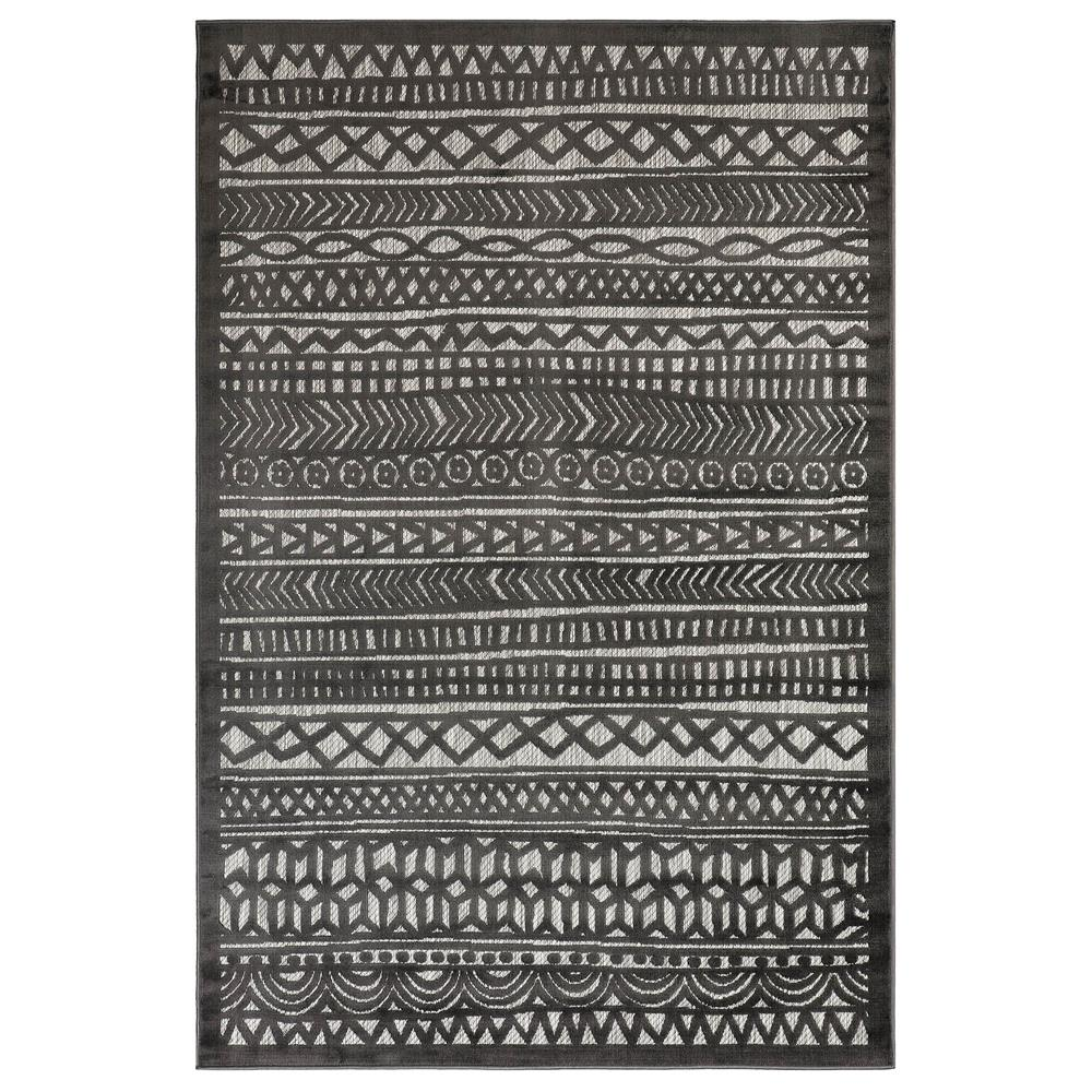 "Liora Manne 7036/47 Rialto Tribal Stripe Indoor/Outdoor Rug Charcoal 39""X59"""