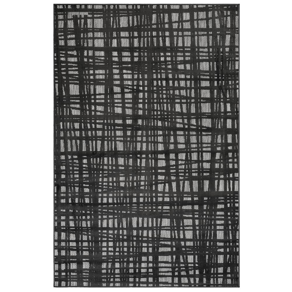 "Liora Manne 7037/47 Rialto Grid Indoor/Outdoor Rug Charcoal 39""X59"""