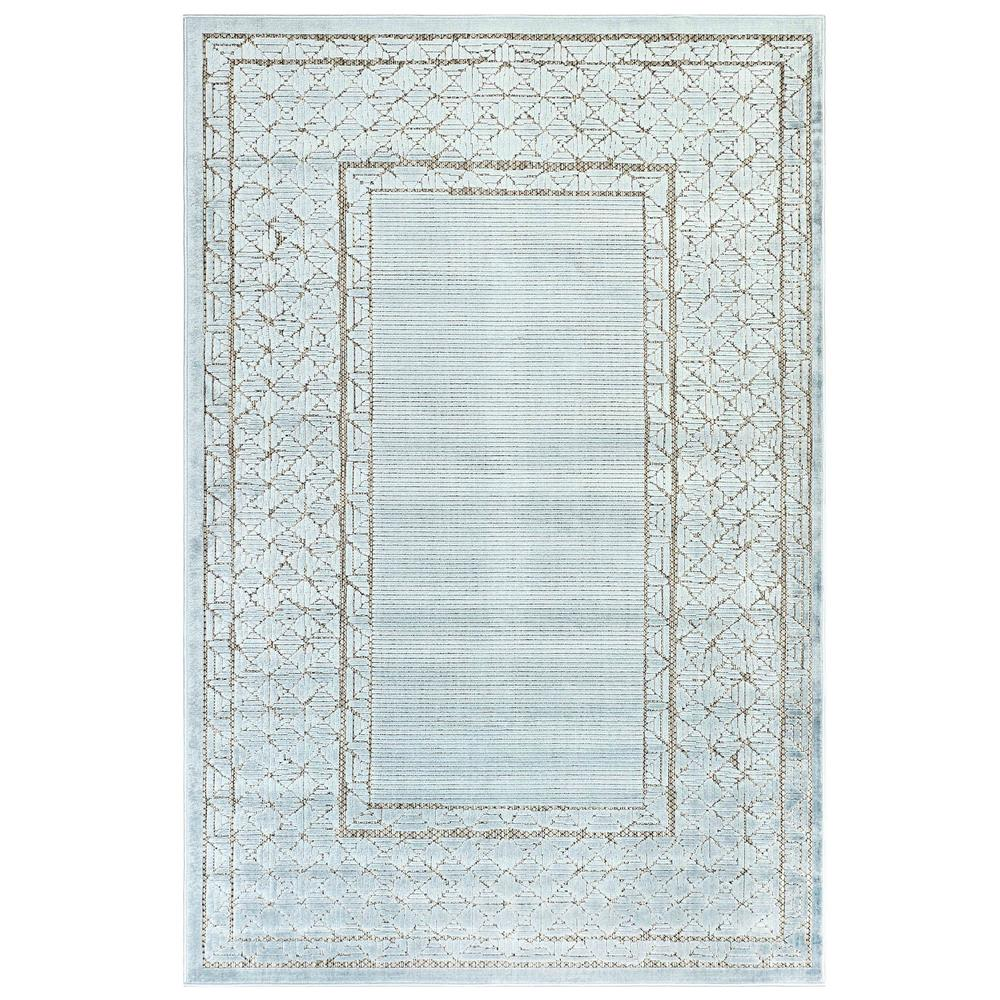 "Liora Manne 7040/04 Rialto Border Indoor/Outdoor Rug Aqua 39""X59"""