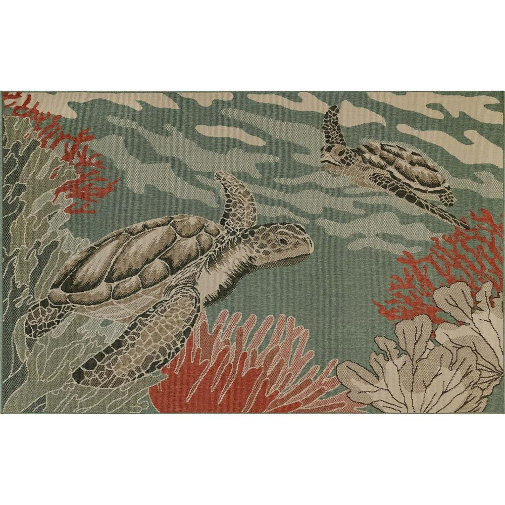 "Liora Manne 7634/04 Riviera Seaturtles Indoor/Outdoor Rug Ocean 39""X59"""