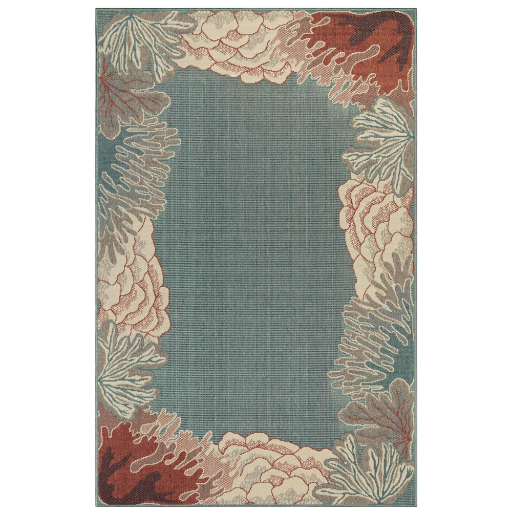 "Liora Manne 7638/04 Riviera Reef Border Indoor/Outdoor Rug Ocean 39""X59"""