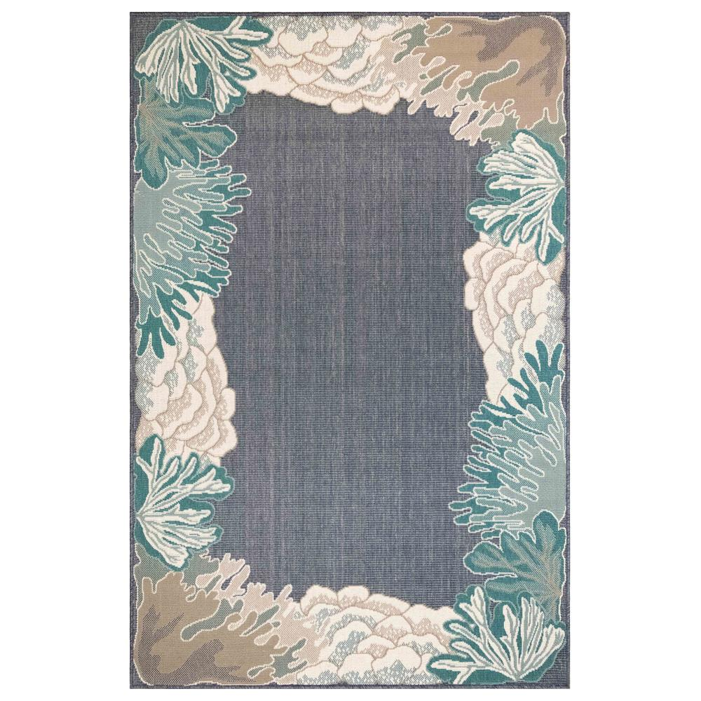 "Liora Manne 7638/33 Riviera Reef Border Indoor/Outdoor Rug Navy 39""X59"""