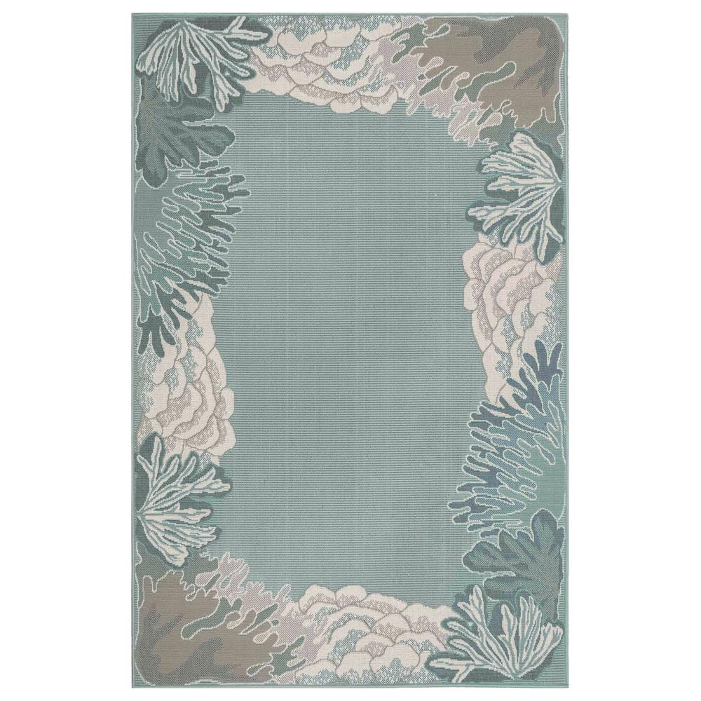 "Liora Manne 7638/94 Riviera Reef Border Indoor/Outdoor Rug Aqua 39""X59"""