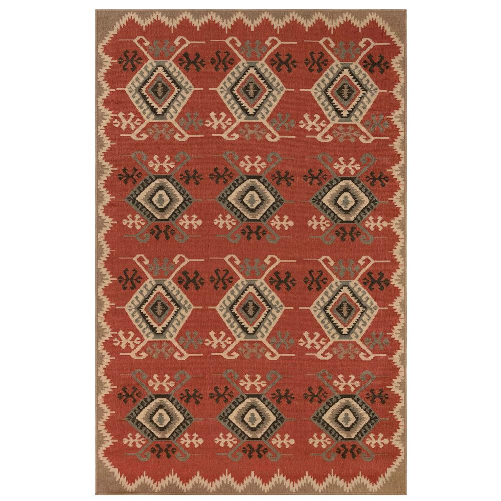 "Liora Manne 7645/24 Riviera Kilim Indoor/Outdoor Rug Red 39""X59"""