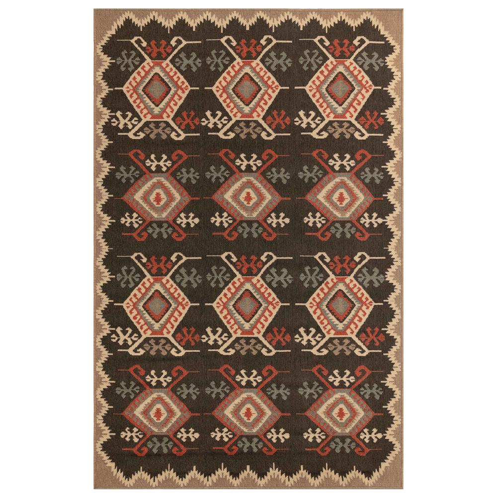 "Liora Manne 7645/48 Riviera Kilim Indoor/Outdoor Rug Black 39""X59"""