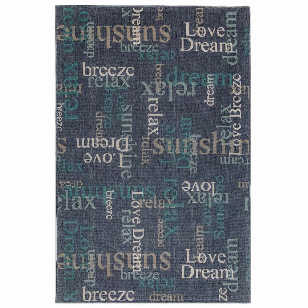 "Liora Manne 7653/33 Riviera Happy Words Indoor/Outdoor Rug Navy 39""X59"""