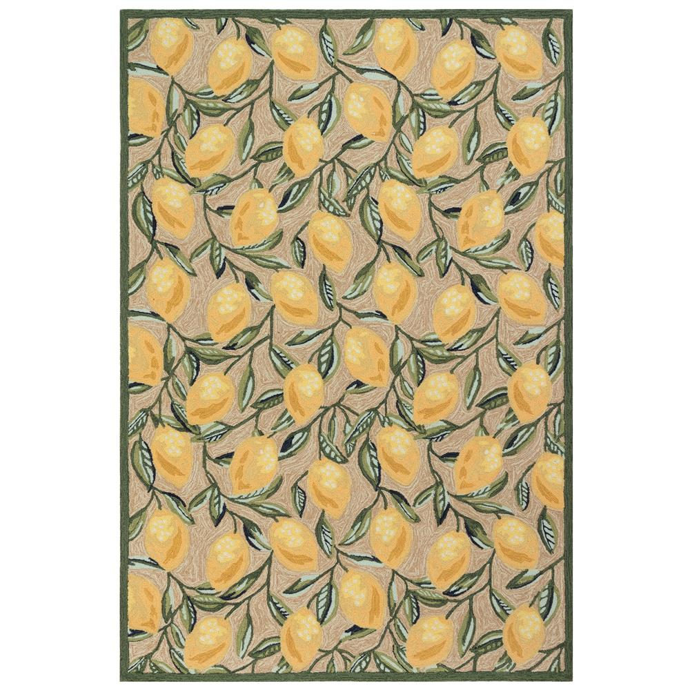 Liora Manne 2282/12 Ravella Lemon Indoor/Outdoor Rug in Natural 2 ft.. X 3 ft.