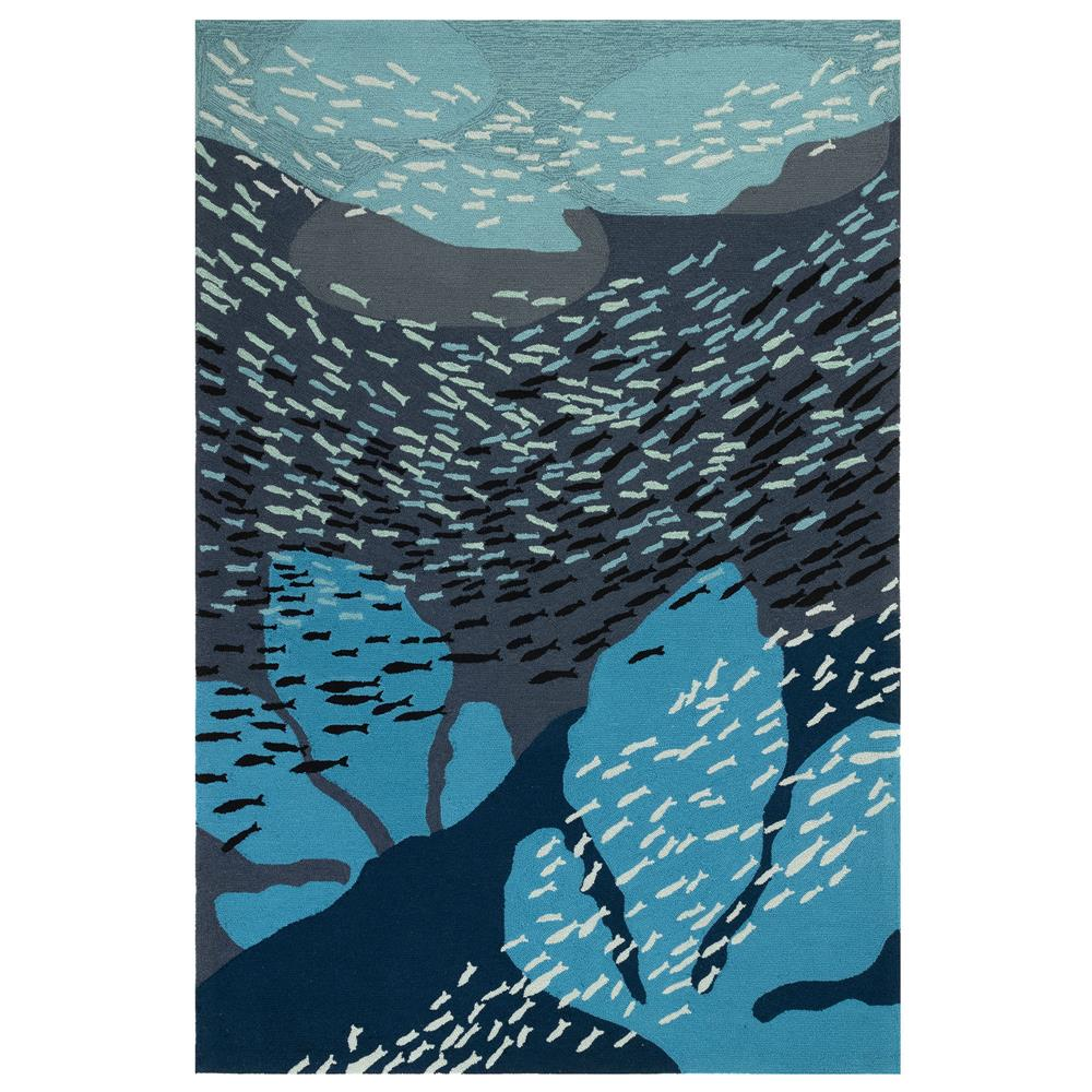 Liora Manne 2283/33 Ravella School Of Fish Indoor/Outdoor Rug in Navy 2 ft.. X 3 ft.