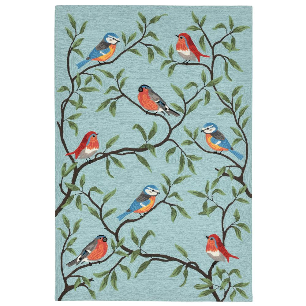 Liora Manne RVL23227004 Ravella Birds On Branches Aqua Indoor/Outdoor Rug