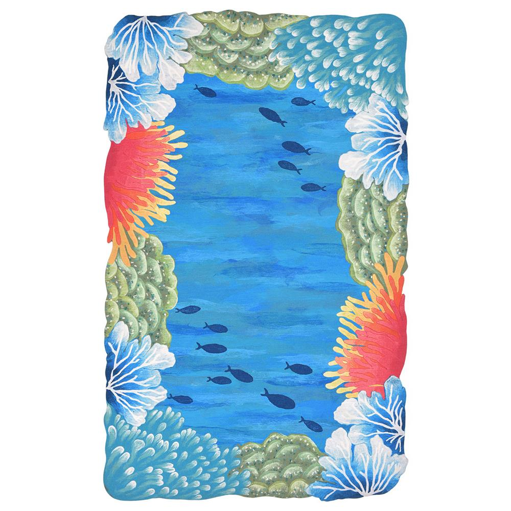 "Liora Manne 4137/03 Visions IV Reef Border Indoor/Outdoor Rug Blue 24""X36"""