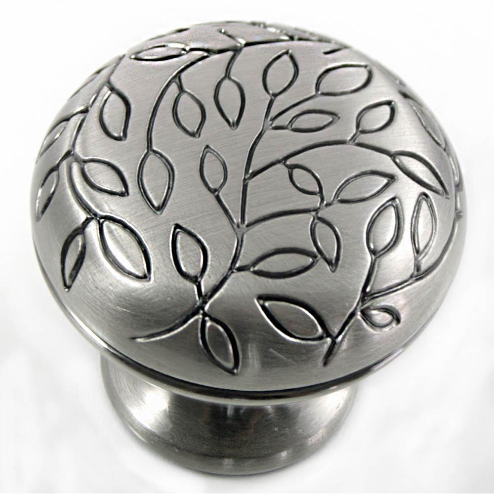 "MNG Hardware 10211 1 1/4"" Vine Knob - Satin Antique Nickel - Round"