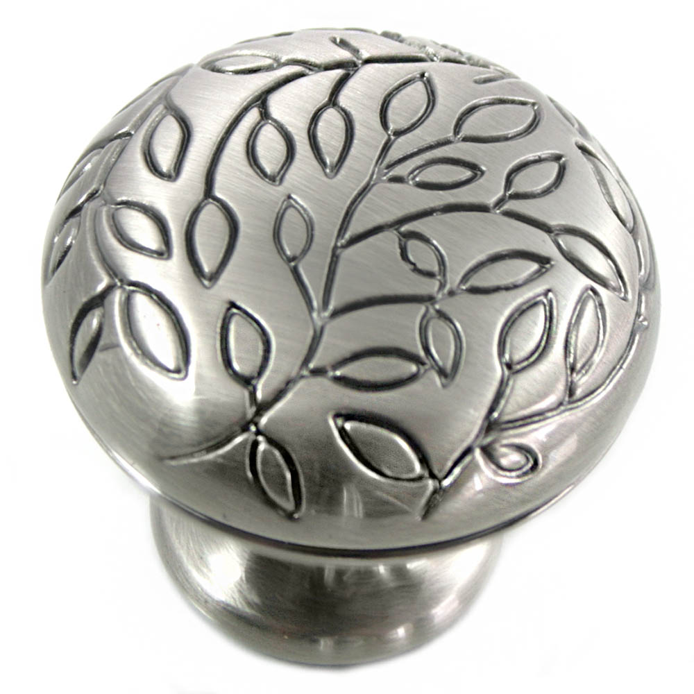 "MNG Hardware 10221 1 1/4"" Vine Knob - Satin Antique Nickel"
