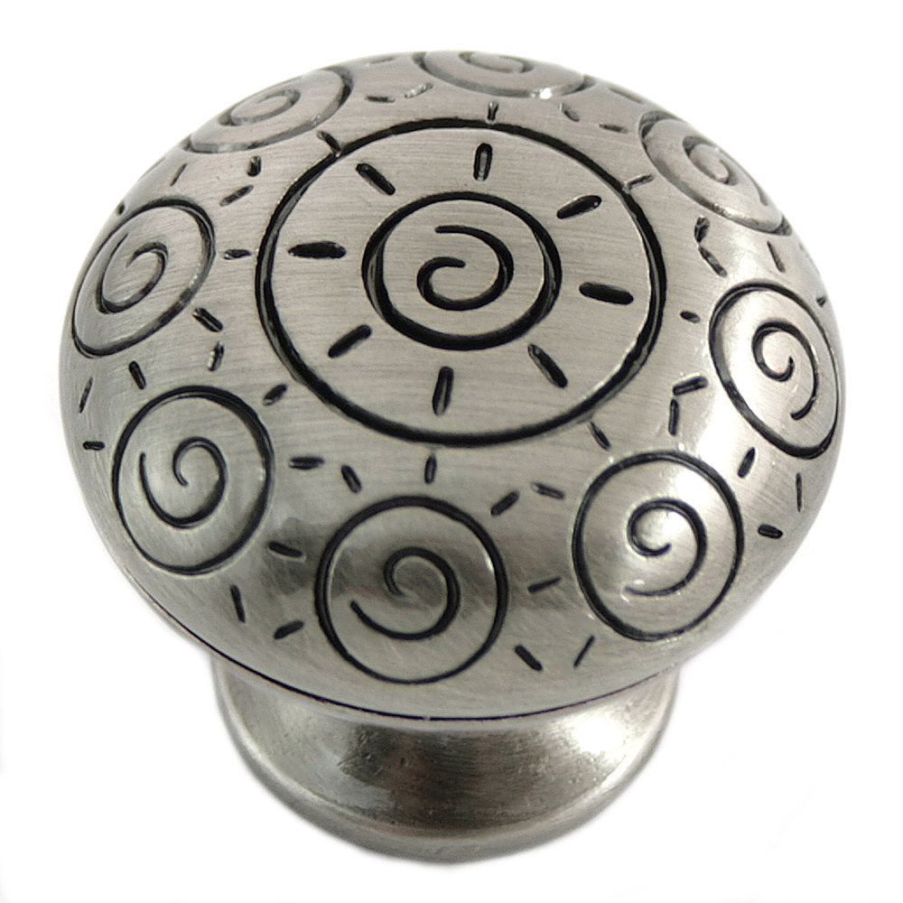 "MNG Hardware 10321 1 1/4"" Sun Swirl Knob - Satin Antique Nickel"