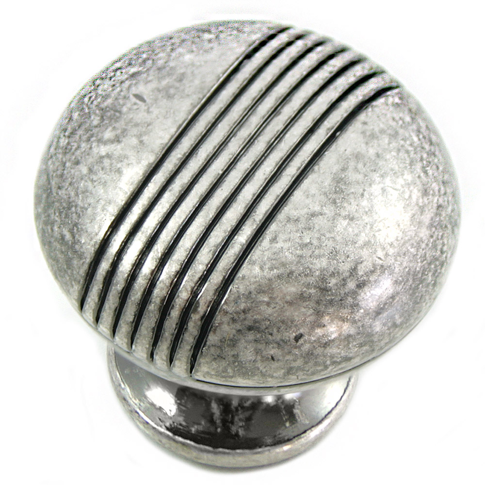 "MNG Hardware 12511 1 1/4"" Stripe Knob Distressed Antique Silver"