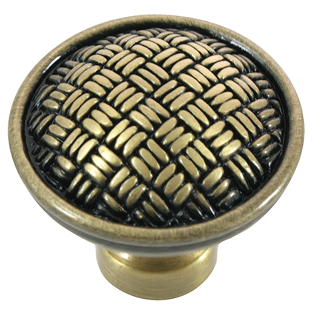 "MNG Hardware 14510 1 1/4"" Rattan Knob Satin Antique Silver"
