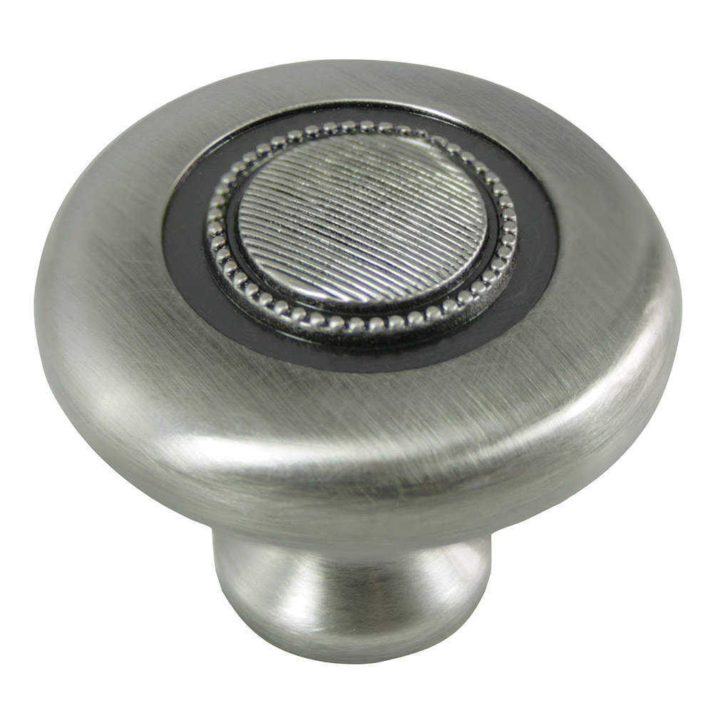 "MNG Hardware 16821 1 1/2"" Guerlain Button Knob Satin Antique Nickel"