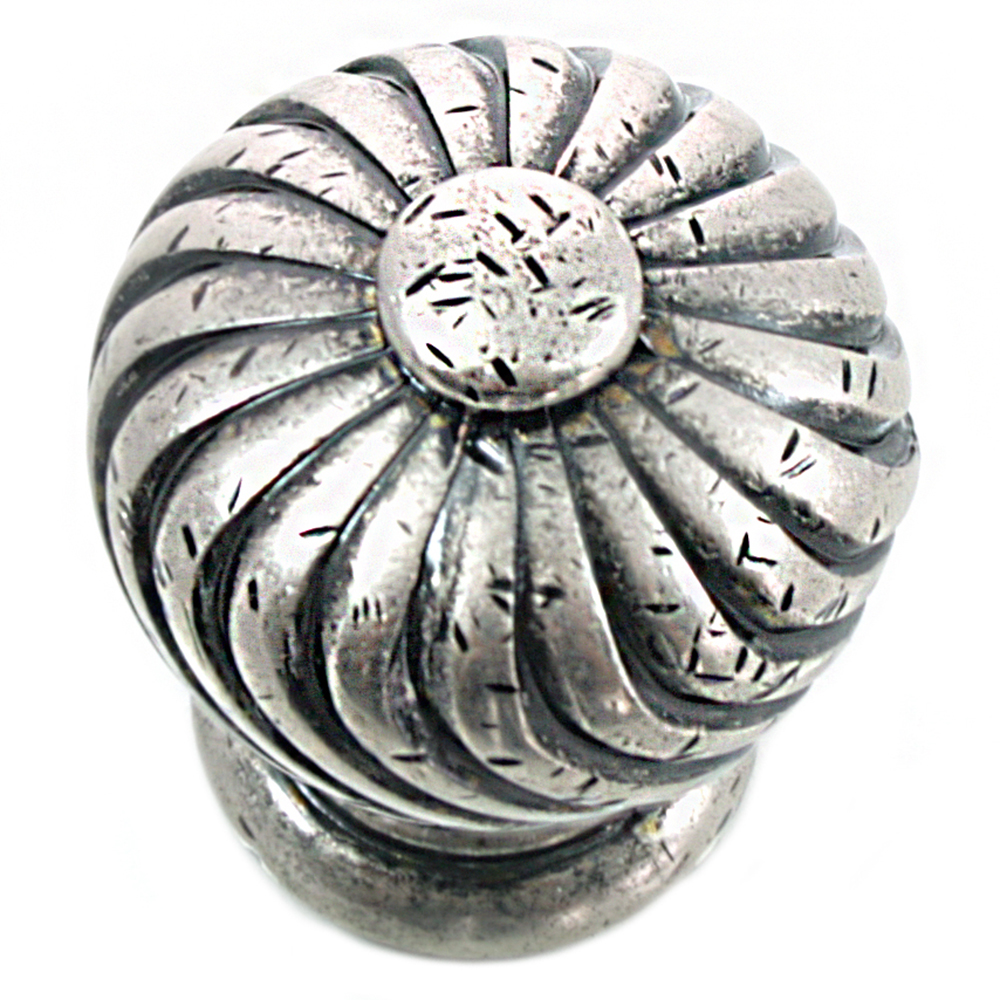 "MNG Hardware 83964 1 1/4"" Knob - French Twist - Distressed Pewter Nickel"