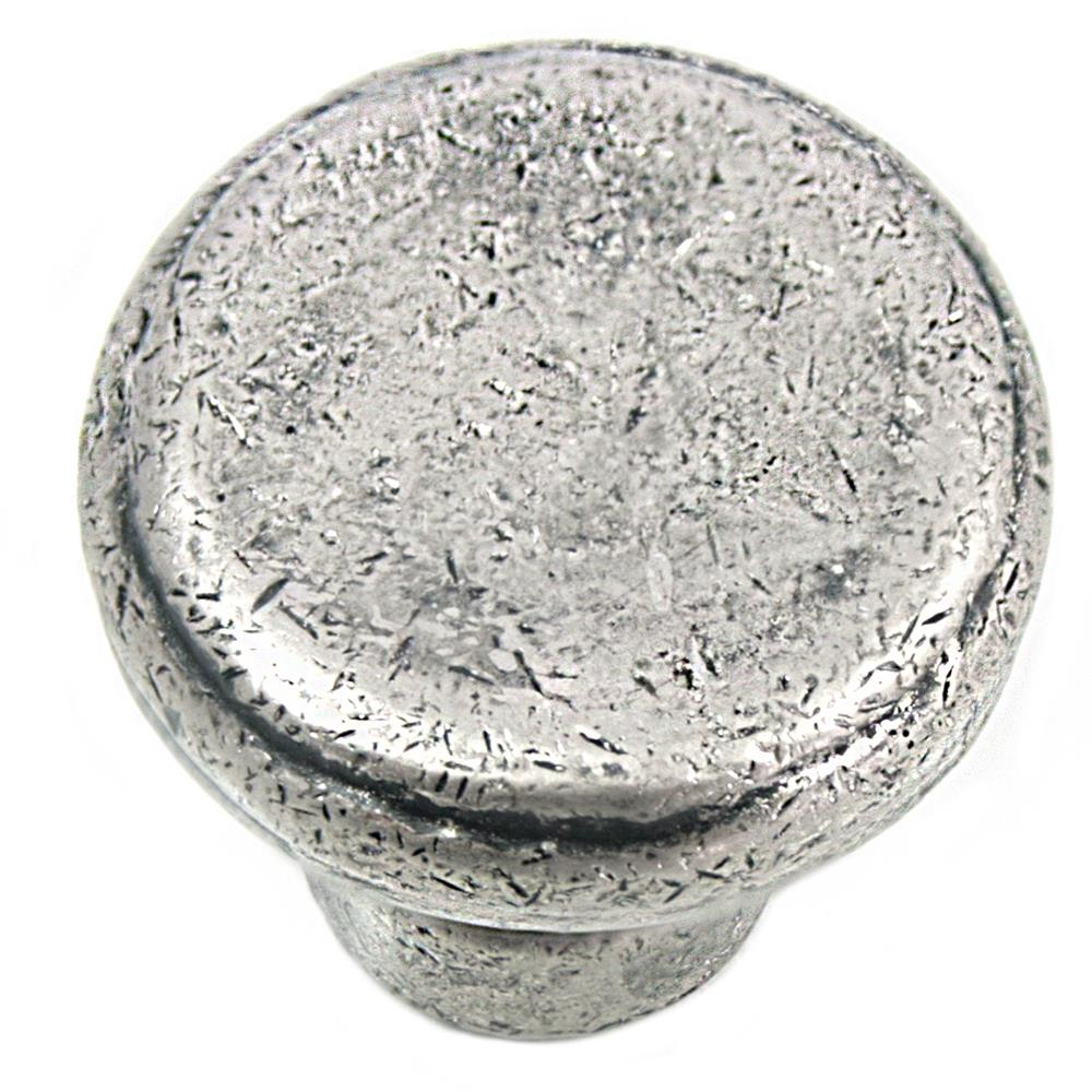 MNG Hardware 84364 Large Button Knob - Riverstone - Distressed Pewter