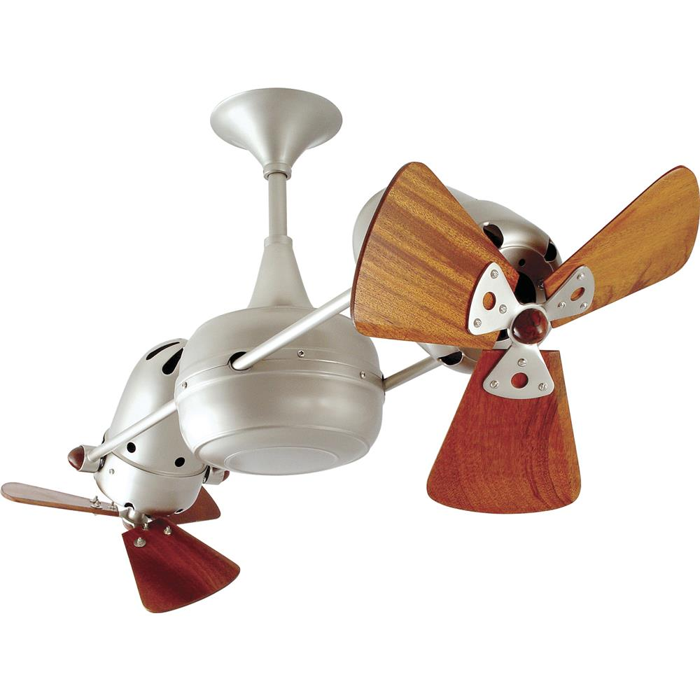 Matthews-Gerbar DD-BN-WD-DAMP Duplo-Dinamico Ceiling Fan in Brushed Nickel with Mahogany blades