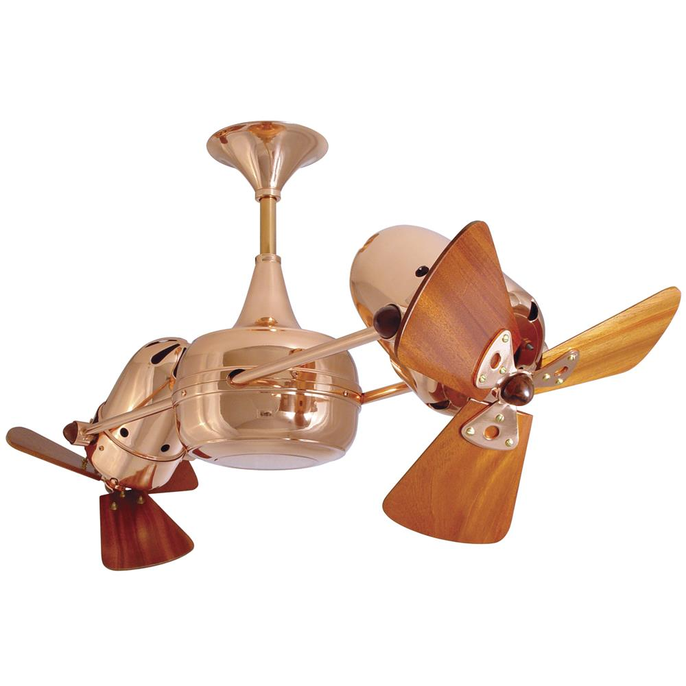 Matthews-Gerbar DD-CP-WD Duplo-Dinamico Ceiling Fan in Polished Copper  with Mahogany blades