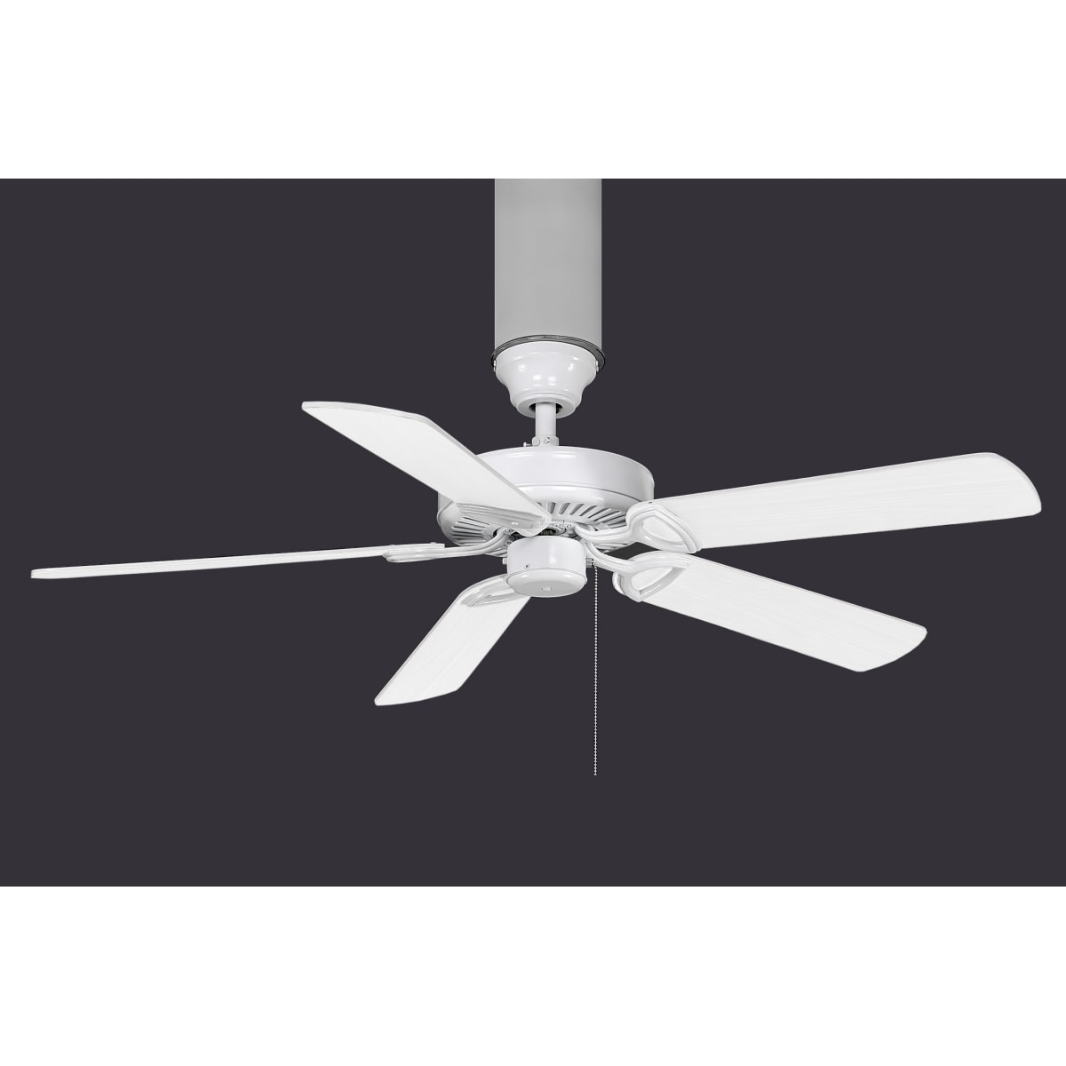 Atlas AM-TW-WH America Ceiling Fan in Gloss White with Reversible White/Wood Tone blades