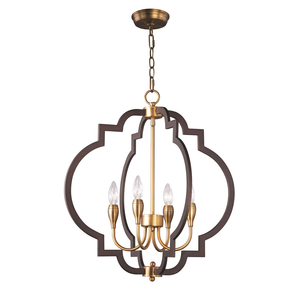 Maxim Lighting 20293OIAB Crest 4-Light Chandelier in Oil Rubbed Bronze / Antique Brass