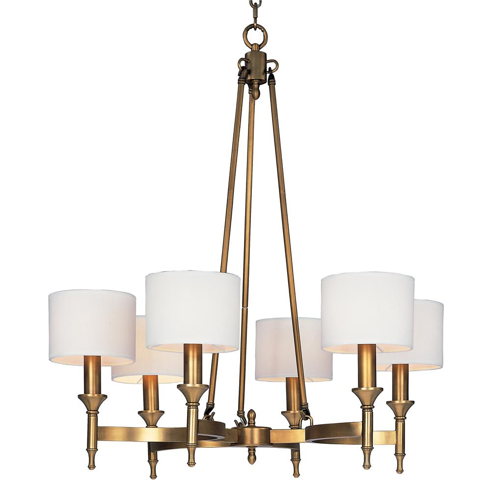 Maxim Lighting 22375OMNAB Fairmont 6-Light Chandelier in Natural Aged Brass