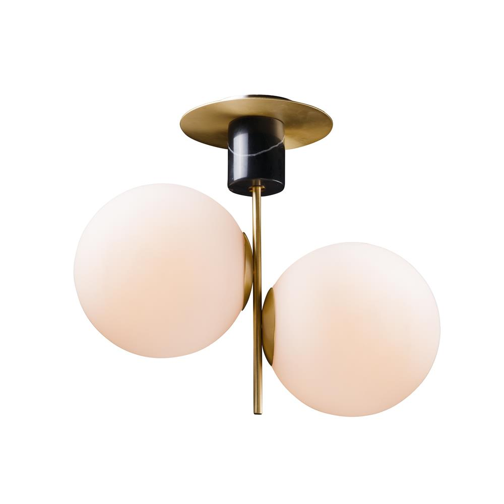 Maxim Lighting 26032SWSBRBK Vesper 2-Light Semi-Flush in Satin Brass / Black