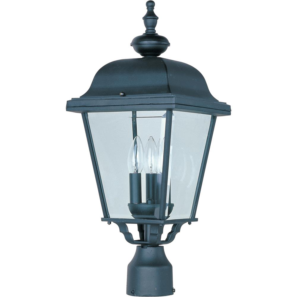 Maxim Lighting 3008BK Builder Cast 3-Light Outdoor Pole/Post Lantern in Black