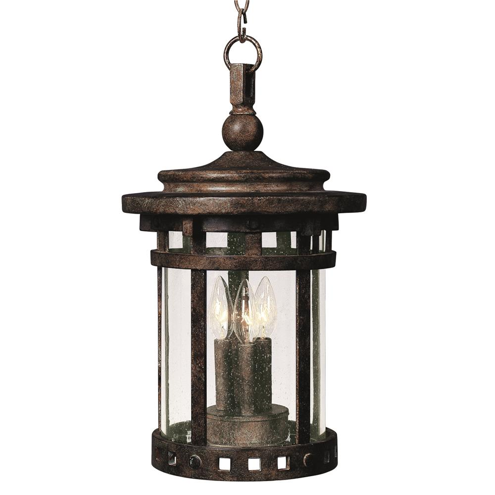 Maxim Lighting 3138CDSE Santa Barbara Cast 3-Light Outdoor Hanging Lantern in Sienna