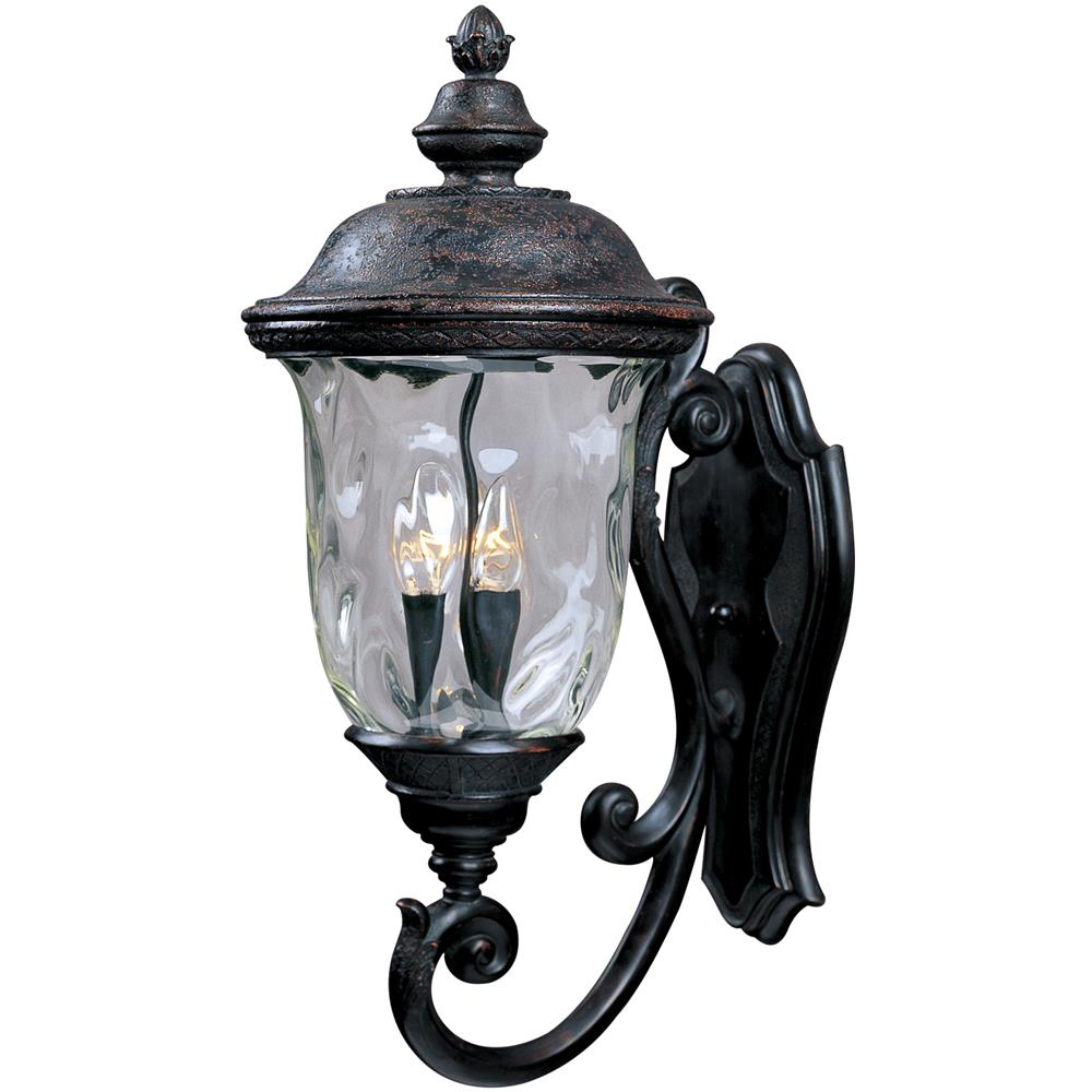 Maxim Lighting 3424WGOB Carriage House DC 3-Light Outdoor Wall Lantern in Oriental Bronze