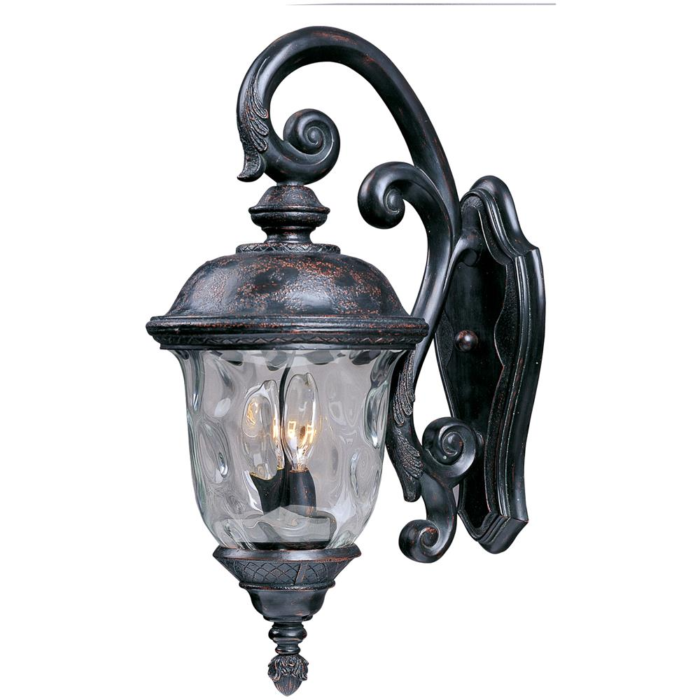 Maxim Lighting 3497WGOB Carriage House DC 3-Light Outdoor Wall Lantern in Oriental Bronze