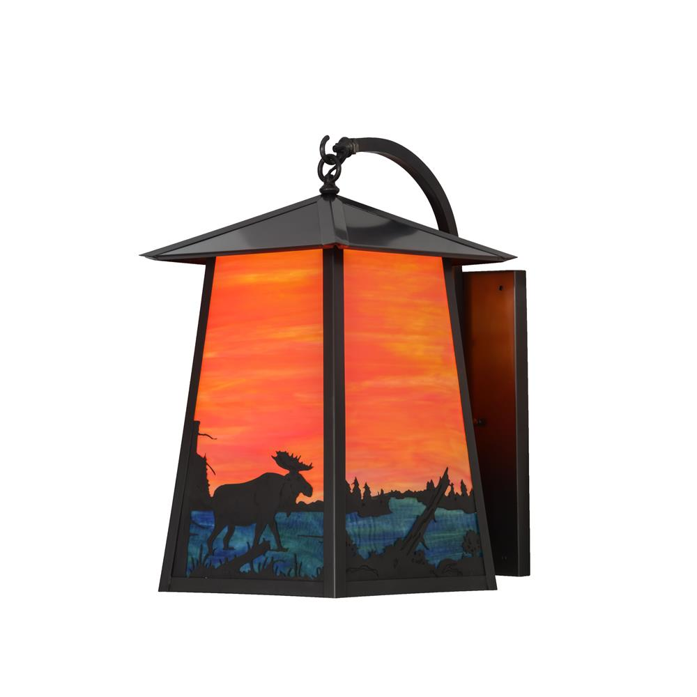"Meyda Lighting 147998 14.5""W Stillwater Moose at Lake Curved Arm Wall Sconce"