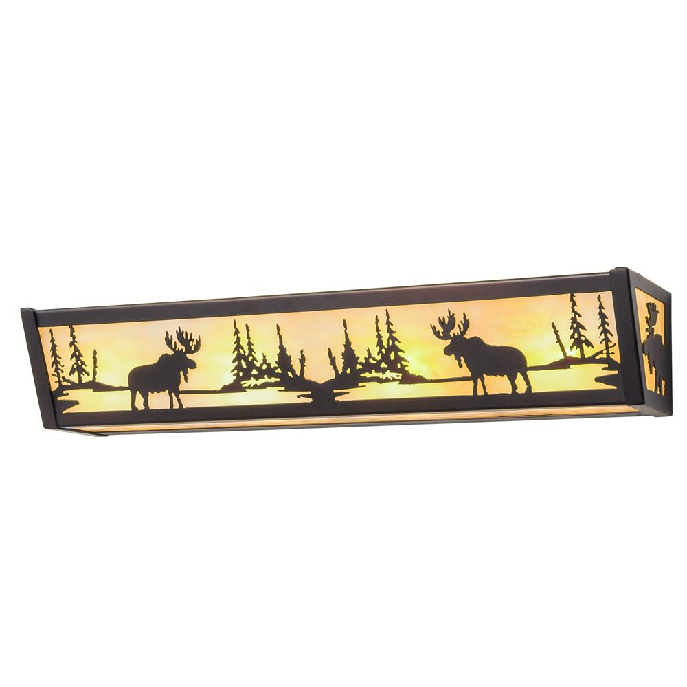 "Meyda Lighting 184292 24""w Moose At Lake Vanity Light In Mahogany Bronze/ba"