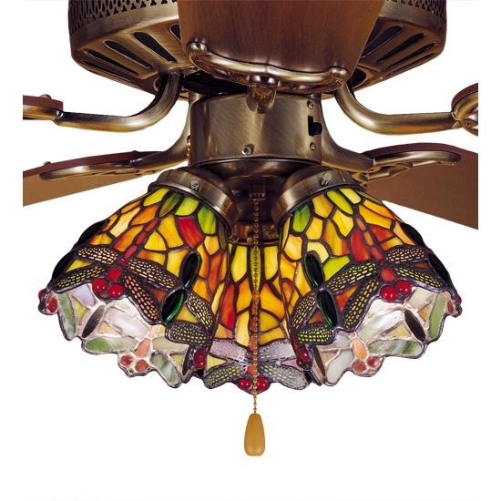 "Meyda Lighting  27473 4""w Hanging Head Dragonfly Fanlite Shade In 59 Orange Flame 59r Green Red"