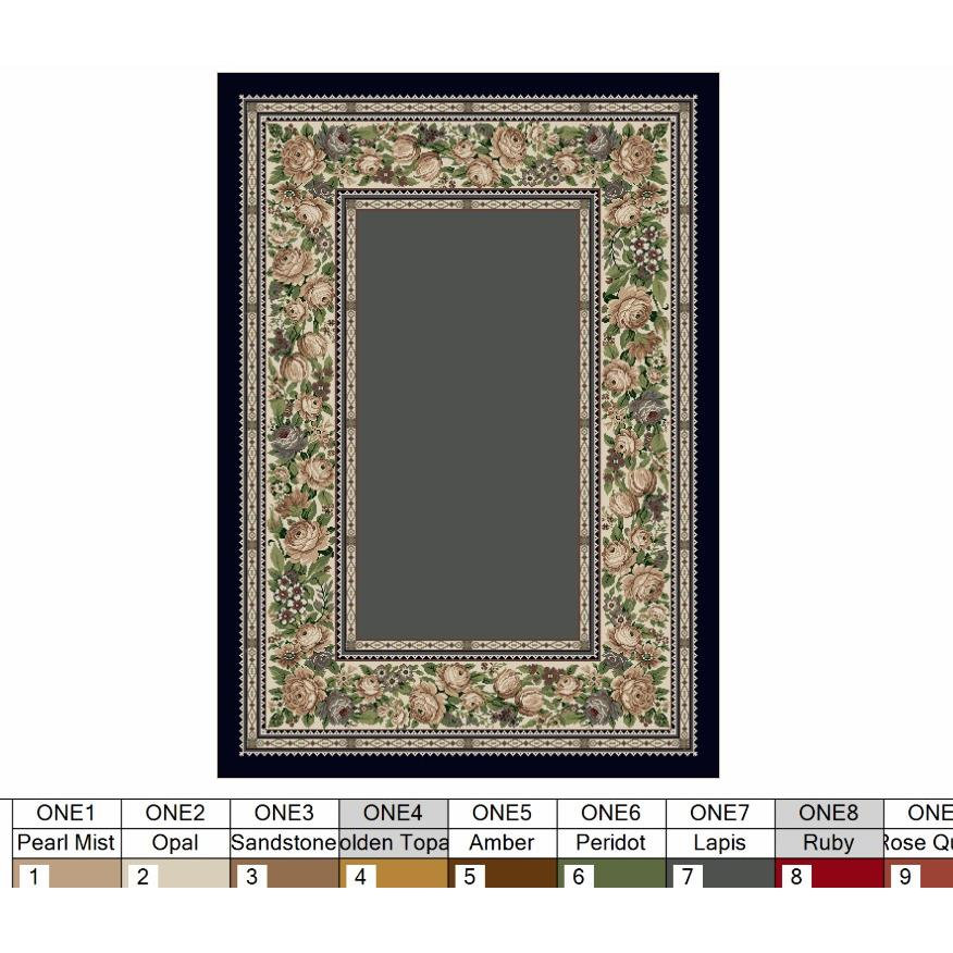 Milliken Innovations English Floral Rug in Lapis-2.8x3.10 Rectangle