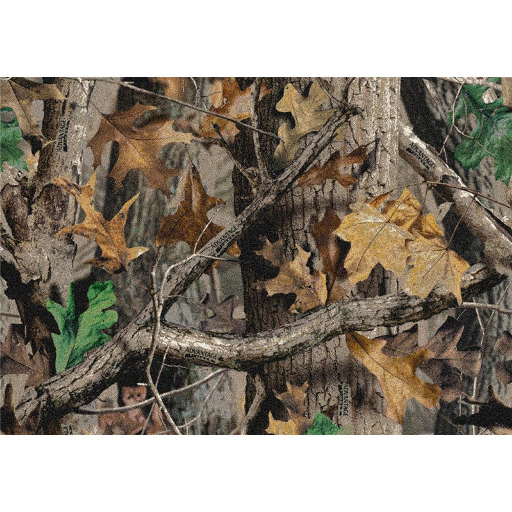 Milliken Realtree New Timber Solid Camo Rug in 10709-5.4x7.8 Rectangle