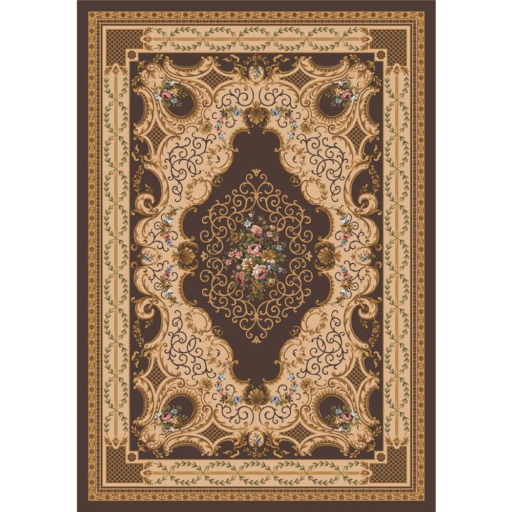 Milliken Kashmiran Pastiche Valette Rug in Brown Leather-2.8x3.10 Rectangle