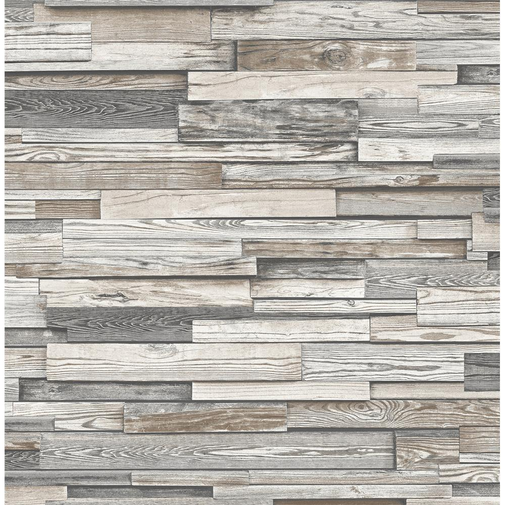 NextWall NW3260 Reclaimed Wood Plank Peel and Stick Wallpaper in Light Gray & Brown