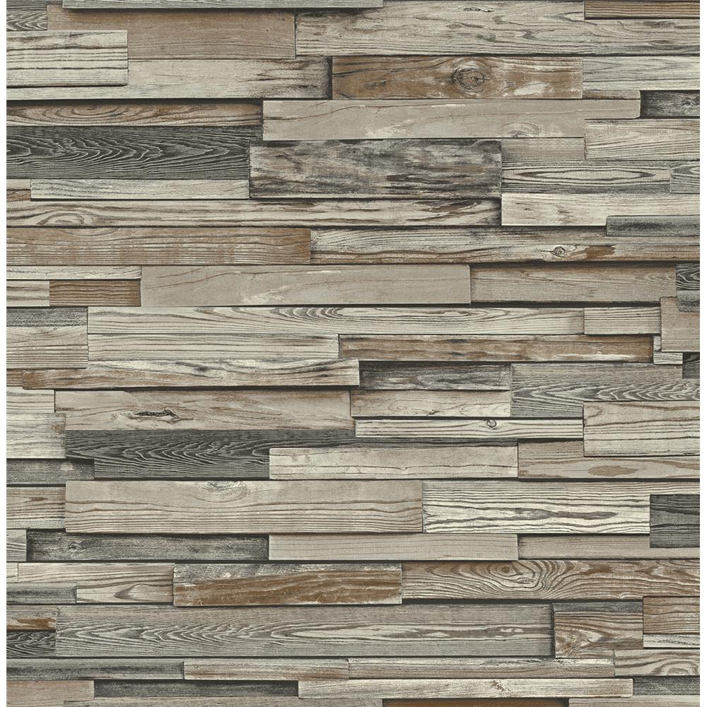 NextWall NW32601 Reclaimed Wood Plank Peel and Stick Wallpaper in Charcoal & Brown