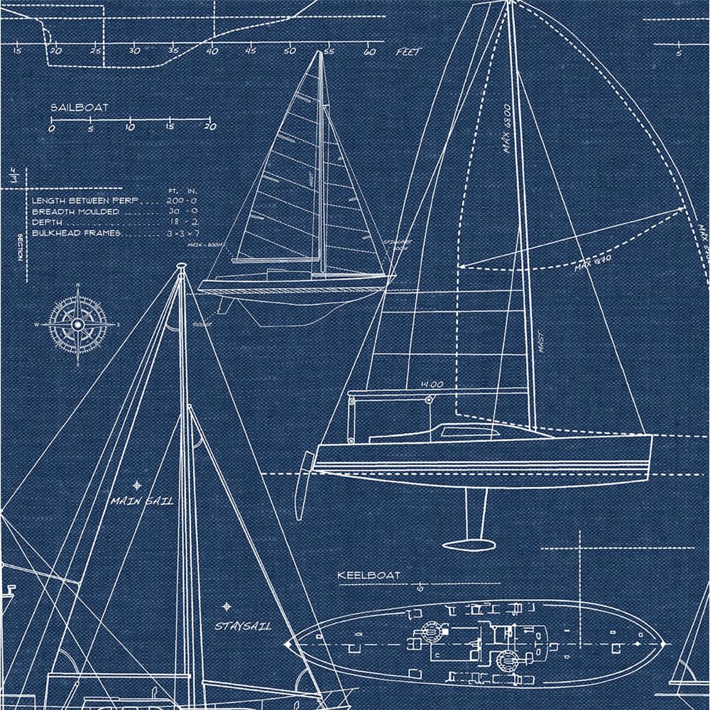 NextWall NW32902 Yacht Club Peel and Stick Wallpaper in Navy Blue